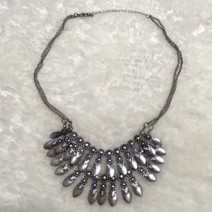 Double Tier Feathers Statement necklace